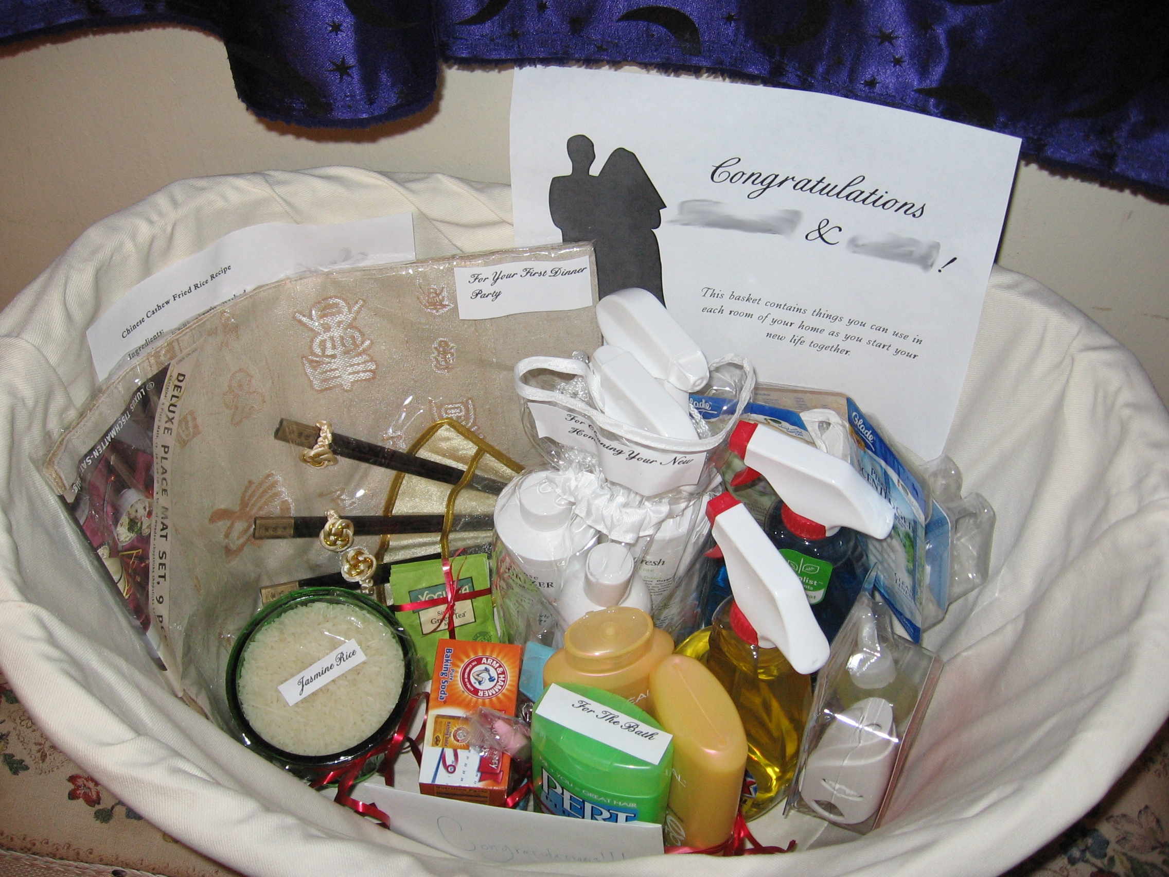 How To Make Wedding Gift Basket : The happy couple s names are blurred out for privacy! ??