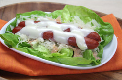 Lettuce-Wrapped Reuben Dog