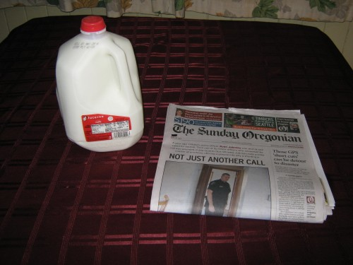Milk & newspaper